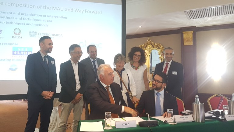 Signature of the contract by Adriatic Training and Research Centre (ATRAC) and REMPEC to join the Mediterranean Assistant Unit